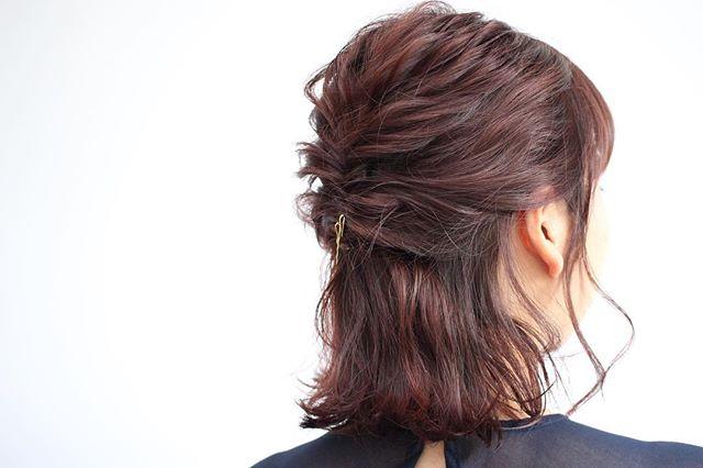 結婚式の髪型《ミディアム×ハーフアップヘア》8