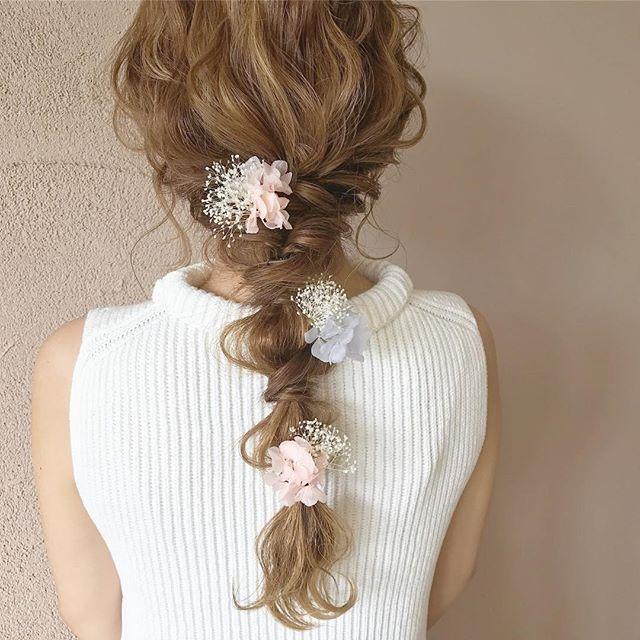 結婚式 ロングヘア 髪飾り16