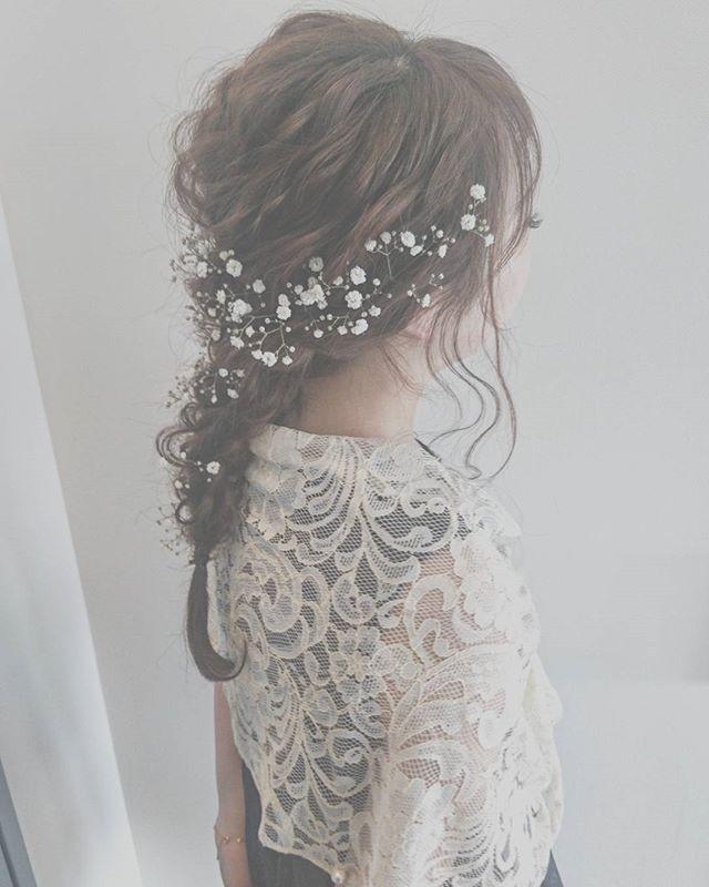 結婚式 ロングヘア 髪飾り18