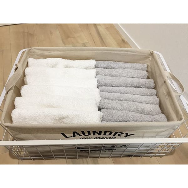 タオルのボックス収納で取り出しやすく