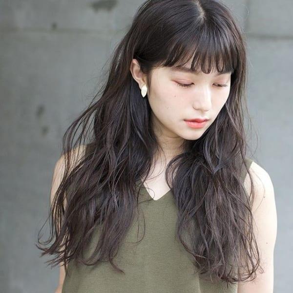 黒髪 ワンレンロング6