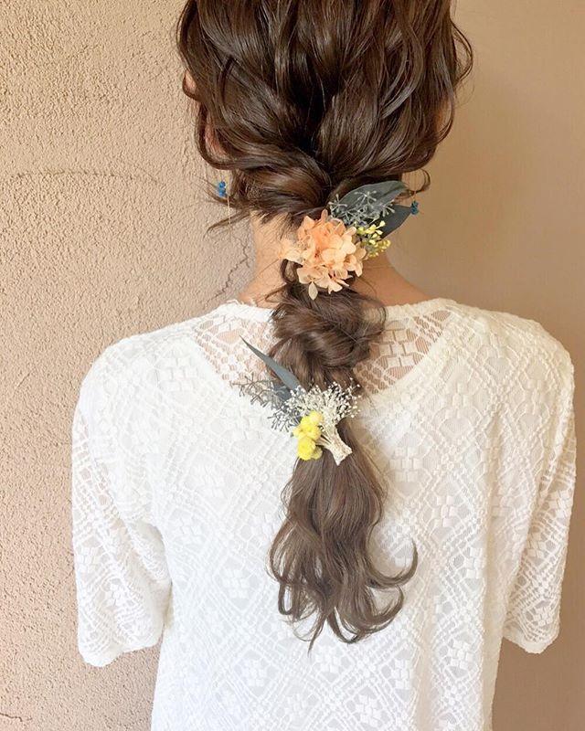 結婚式 ロングヘア 髪飾り15