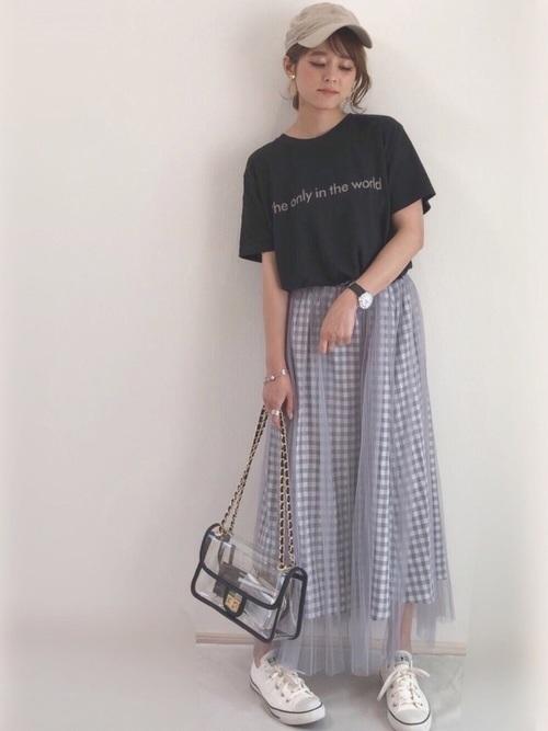 ギンガムチェックのプリーツスカートコーデ