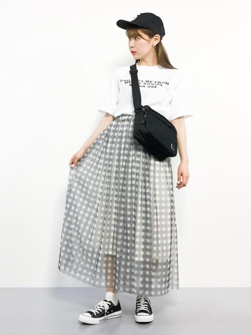 ギンガムチェック柄チュールプリーツマキシ丈スカート2