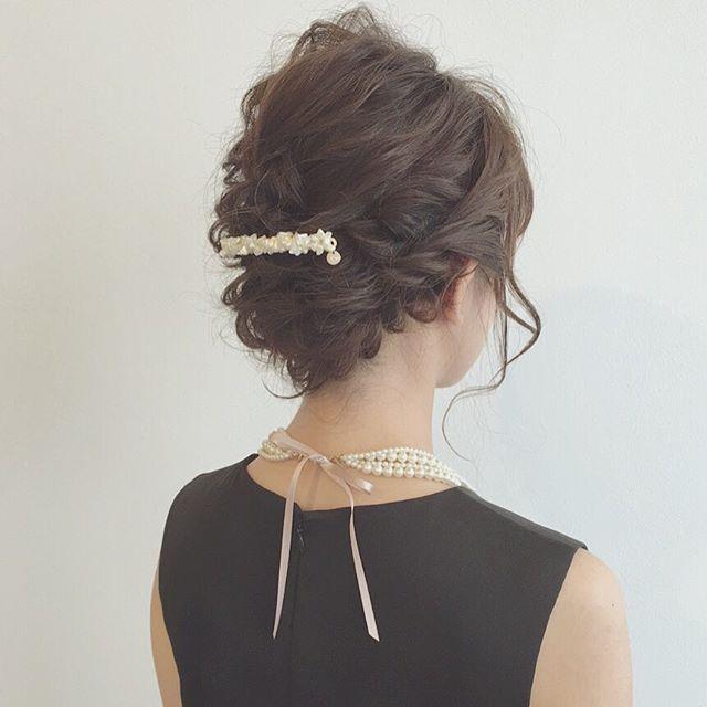 結婚式 ミディアムヘア 髪飾り6