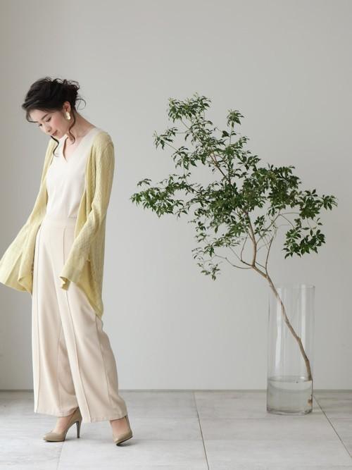 [cawaii] 上品な薄手ベルスリーブ ロングカーディガン(イエロー)羽織り