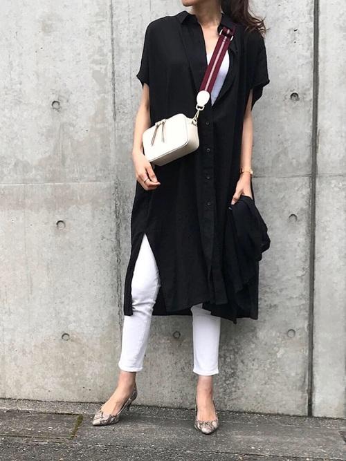 ブラック系  リネンブレンドロングシャツ