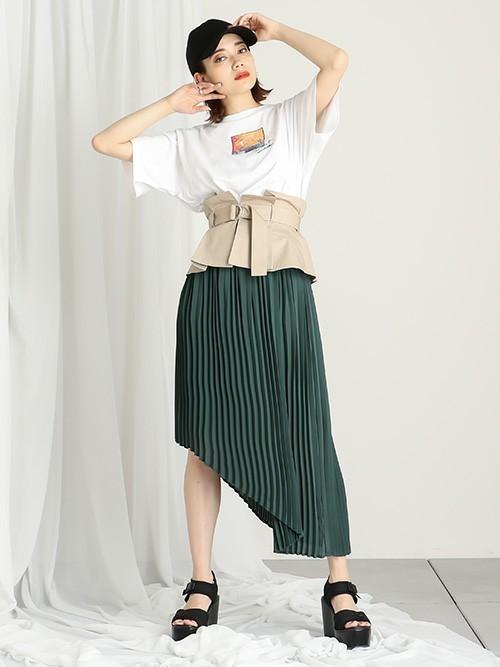 [BARAK] 異素材ベルト付きアシメスカート