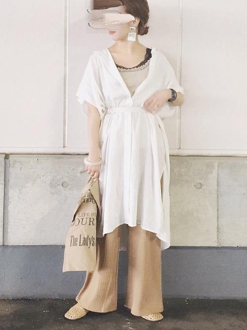ホワイト系  リネンブレンドロングシャツ2