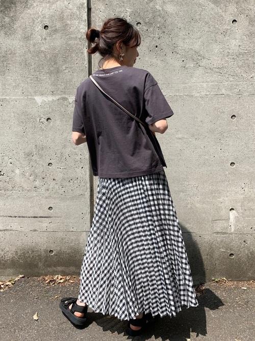 チェック柄プリーツロングスカート3