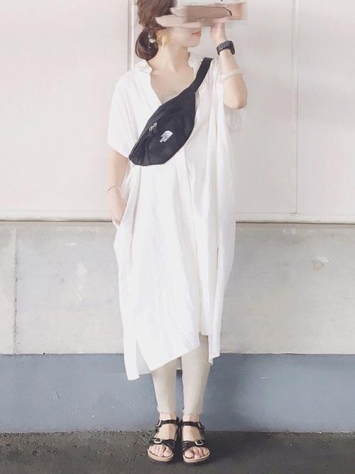 ホワイト系  リネンブレンドロングシャツ