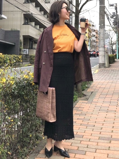 [MERCURYDUO] クロシェニットタイトスカート