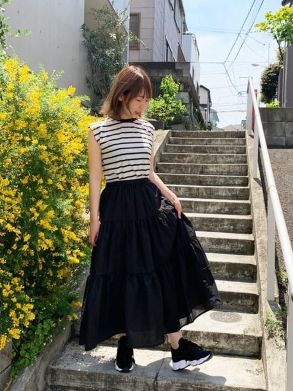 [STYLEBLOCK] ティアードフレアマキシスカート