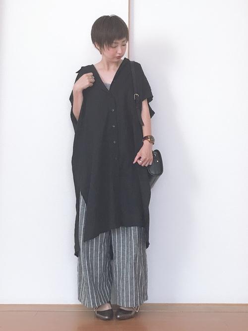 ブラック系  リネンブレンドロングシャツ5