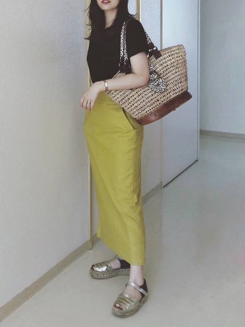 [LOWRYS FARM] アサコンスリットタイトスカート
