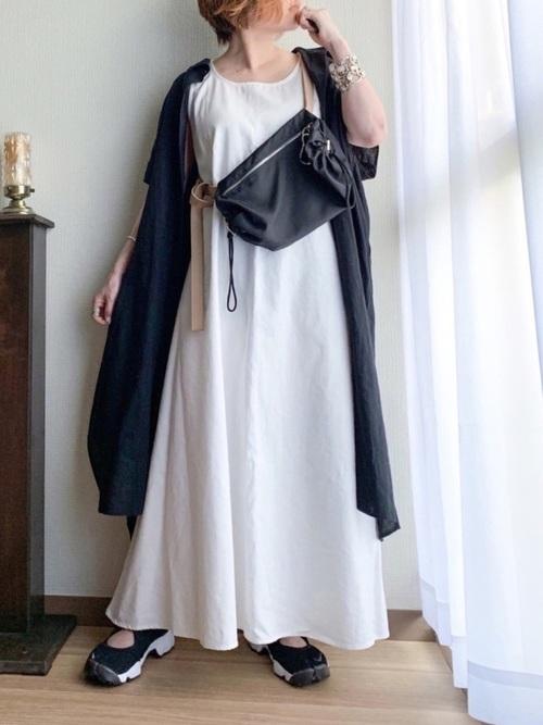ブラック系  リネンブレンドロングシャツ4