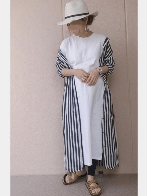 [Chaco closet] インド綿キャンブリック バックプリーツ フレア シャツワンピース