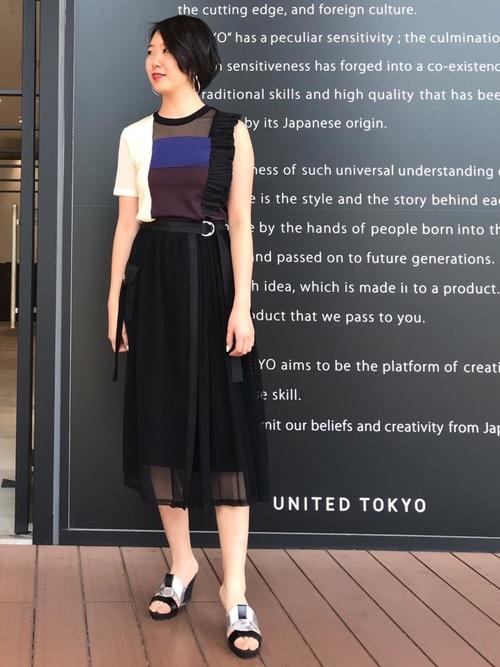 [UNITED TOKYO] メッシュコンビプリーツスカート