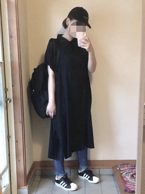 ブラック系  リネンブレンドロングシャツ2
