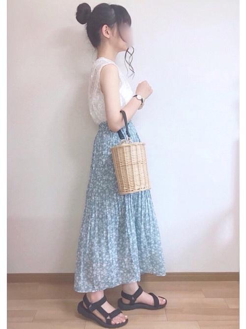 [PairPair] ドット&花柄アソートプリーツスカート