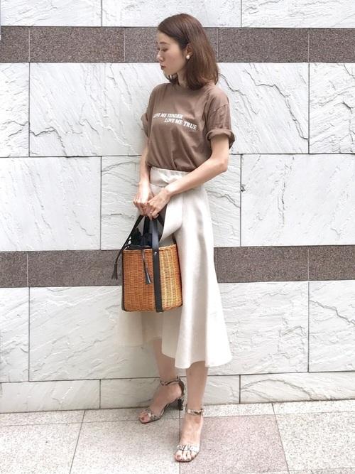 [NOLLEY'S] 麻調合繊ミディ丈スカート