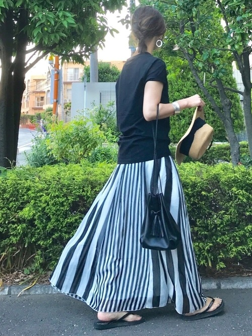 [La-gemme] マキシ丈ストライプシフォンスカート