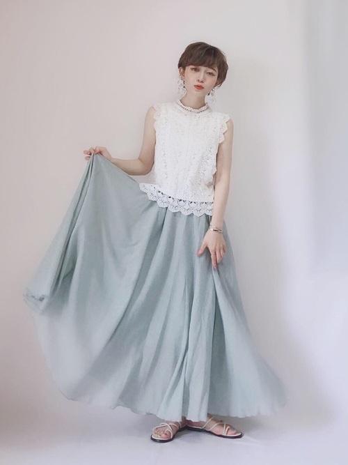 [La-gemme] リネンマキシ丈スカート