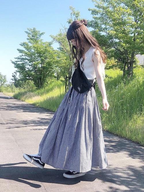 綿ボイルカラースカート