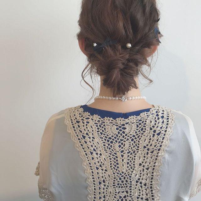 結婚式 ミディアムヘア 髪飾り8