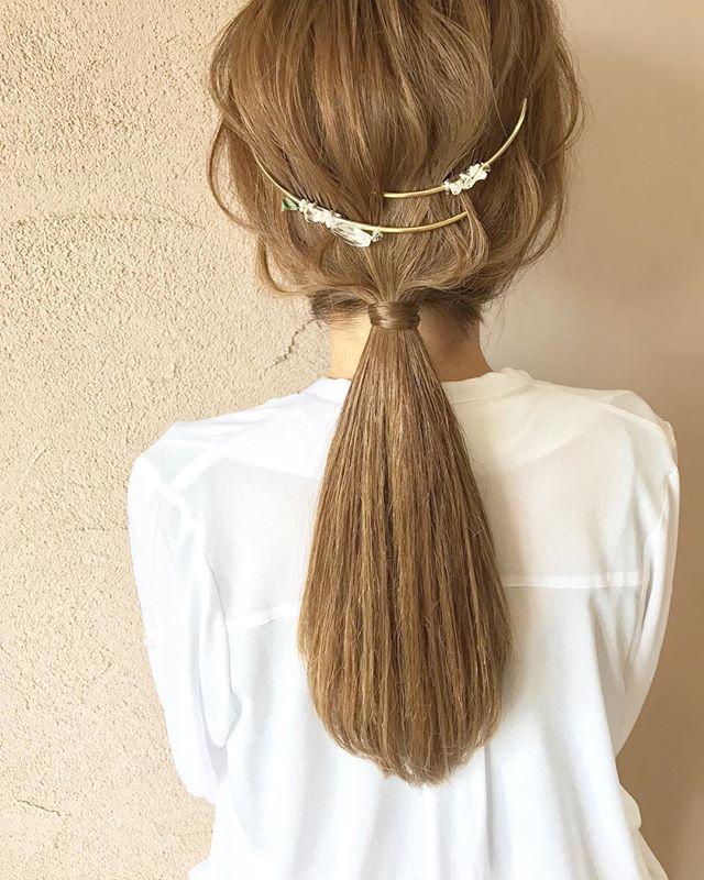 結婚式 ロングヘア 髪飾り4