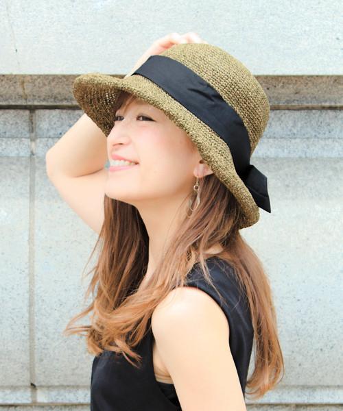 [14+(ICHIYON PLUS)] セーラーリボン麦わらハット / 14+オリジナル レディース 帽子 HAT UVハット つば広 親子 リンクコーデ