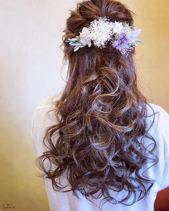 結婚式 ロングヘア 髪飾り17