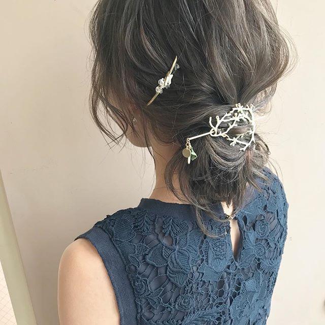 結婚式 ミディアムヘア 髪飾り12