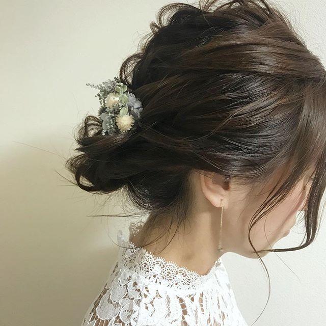 結婚式 ミディアムヘア 髪飾り10