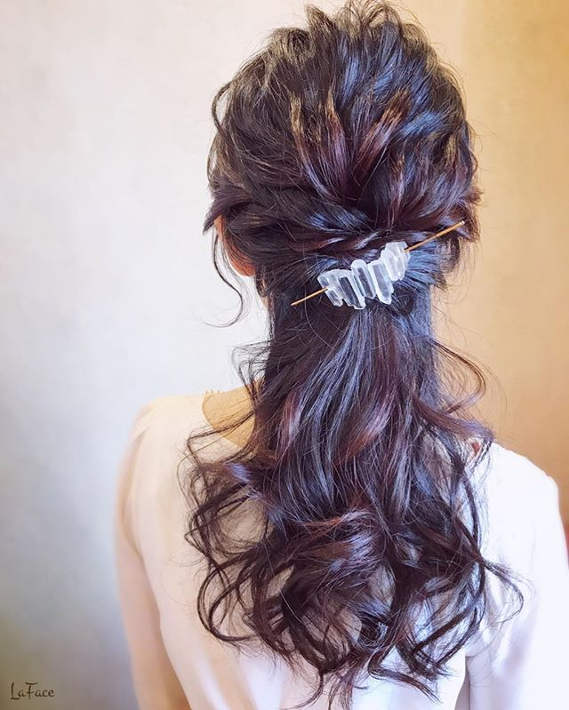 結婚式 ロングヘア 髪飾り13