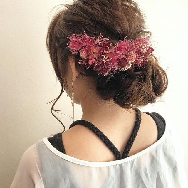 結婚式 ロングヘア 髪飾り7