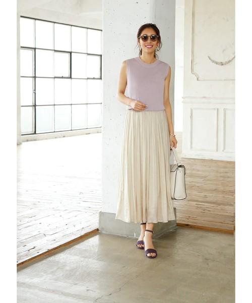 [STYLE DELI] 【Made in JAPAN】V.サテンギャザーロングスカート