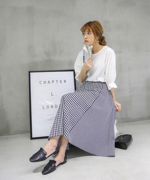 [select MOCA] ギンガムチェックフレアスカート