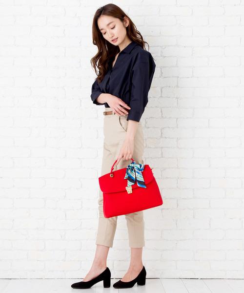47[florist] 【2way】スカーフ付きフラップハンドバッグ/ショルダーバック