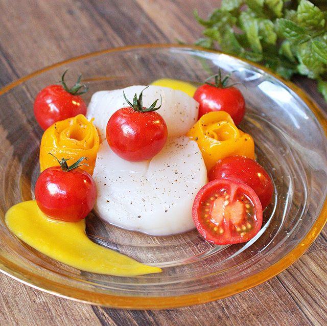 ホタテとトマトのマンゴーソース