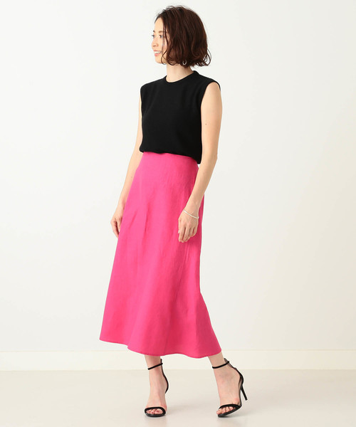 [BEAMS WOMEN] Demi-Luxe BEAMS / リネン フィット&フレアスカート