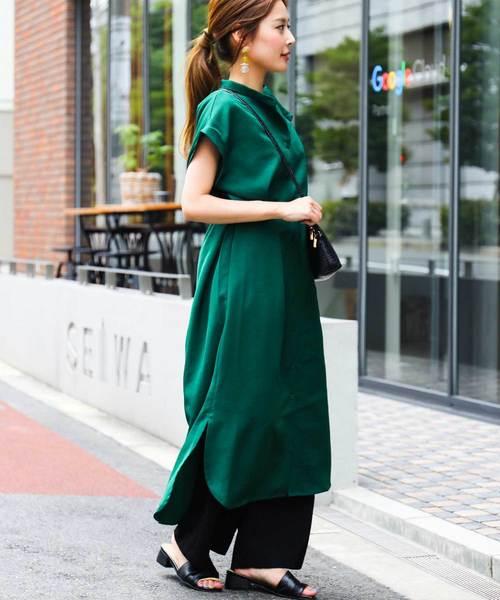 [Fashion Letter] バックシャン ロングシャツワンピース