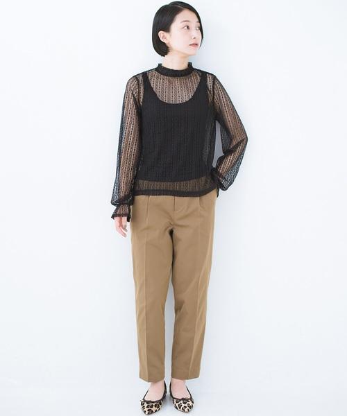 [haco!] 重ね着にも便利な 伸びる女っぽレーストップス