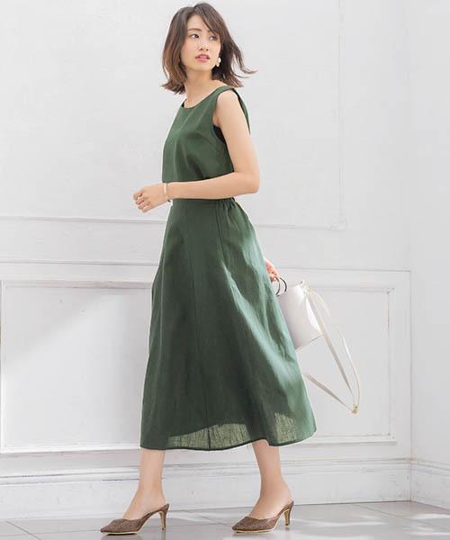 [Pierrot] 綿麻フレアスカート セットアップ リネンスカート ノースリーブリネンブラウス 袖なし2