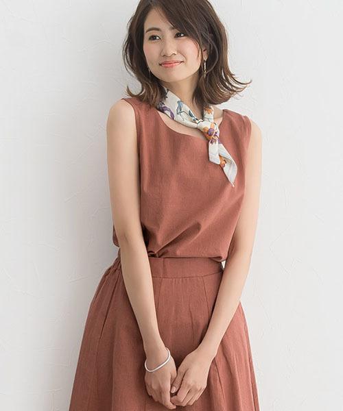 [Pierrot] 綿麻フレアスカート セットアップ リネンスカート ノースリーブリネンブラウス 袖なし3