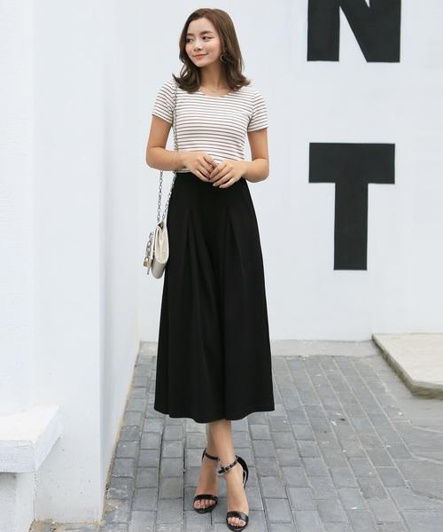 [TeddyShop] スカーチョ きれいめシルエット 七分丈ガウチョパンツ ワイドパンツ