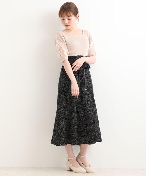 [MAJESTIC LEGON] リボン付ロングフレアースカート