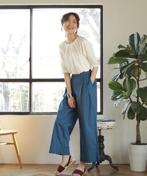[coen] 【『リンネル』6月号掲載】綿麻セミワイドイージーパンツ