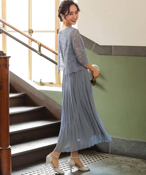 [Fashion Letter] 結婚式ワンピース・お呼ばれパーティードレス/総レースプリーツドレス
