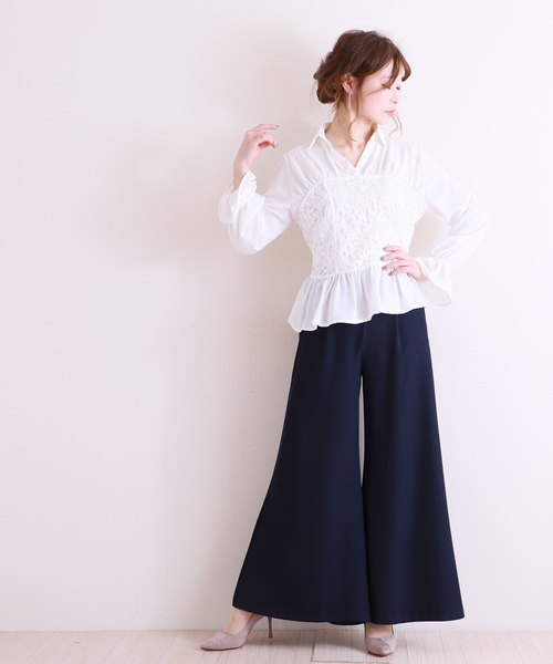 [Sawa a la mode] ビスチェ風レースが素敵なフレア袖トップス